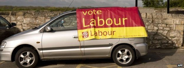 Labour banner draped over a car