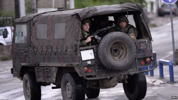 Police in the northern Macedonian town of Kumanovo, on Saturday, 9 May 2015.