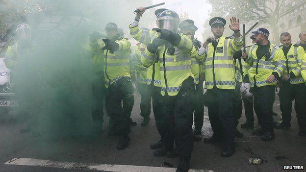 Police at protest in Westminster