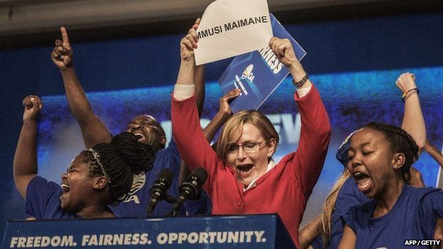South Africa main opposition party Democratic Alliance outgoing leader Hellen Zille announces the victory of Mmusi Maimane at the end of the vote for her succession, on 10 May 2015 in Port Elizabeth,