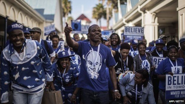 South Africa main opposition party Democratic Alliance supporters of Candidate Leader Mmusi Maimane dance and sing in his support during the party leadership elections on 10 May 2015 in Port Elizabeth.