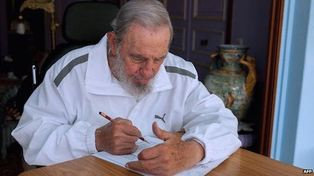Handout picture released by Cuban official website www.cubadebate.cu, showing former Cuban president Fidel Castro voting during local elections held throughout Cuba on 19 April, 2015 in Havana.