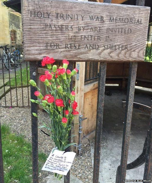 Flowers on memorial