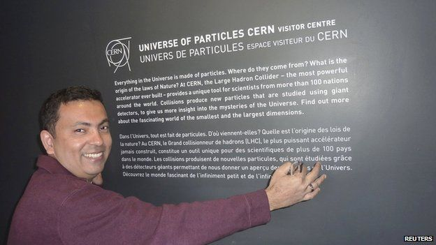 Avijit Roy in a family photograph taken at CERN, Switzerland in 2012 and released on 8 May 2015