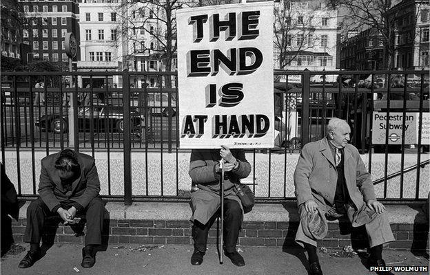 The End is At Hand. Evangelical Christian with a placard at Speakers Corner, Hyde Park, London, 1978