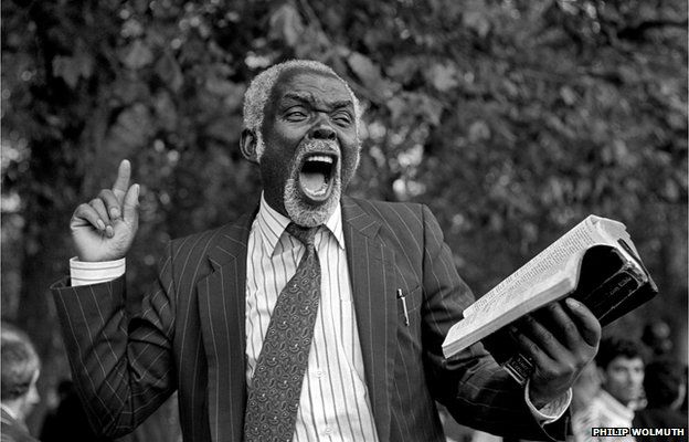 A Christian preacher addresses a crowd at Speakers Corner, Hyde Park, London, 1993