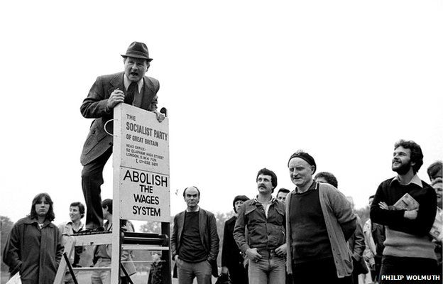 A member of the Socialist Party of Great Britain addresses a crowd at Speakers Corner, Hyde Park, London, 1978