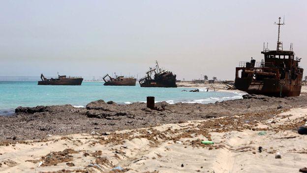A beach at Zuwara, Libya