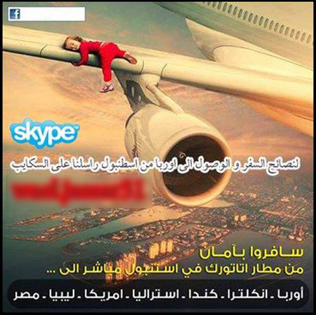 Screenshot of a Facebook page showing a child on the wing of a plane