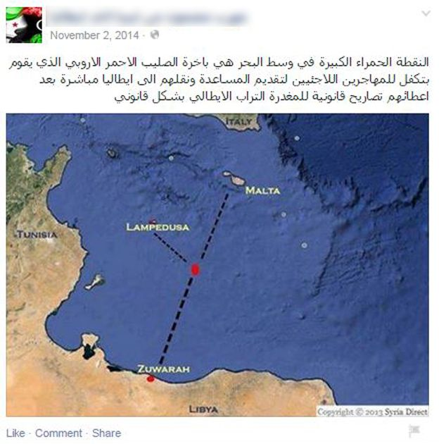 Facebook page showing the supposed location of a Red Cross ship