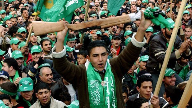 Hamas supporters celebrate victory in the 2006 Palestinian election