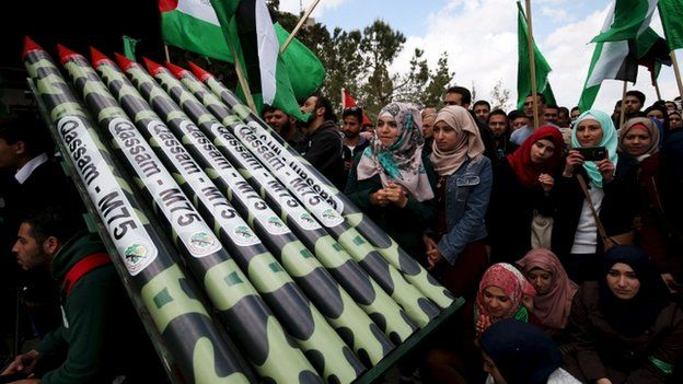 Palestinian students supporting Hamas stand next to mock Hamas rockets during rally celebrating winning of student council election at Birzeit University in the West Bank city of Ramallah