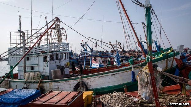 A view of wooden boat which carried Rohingya and Bangladesh migrants at fishing port on 13 May 2015 in Lhokseumawe, Aceh province, Indonesia.
