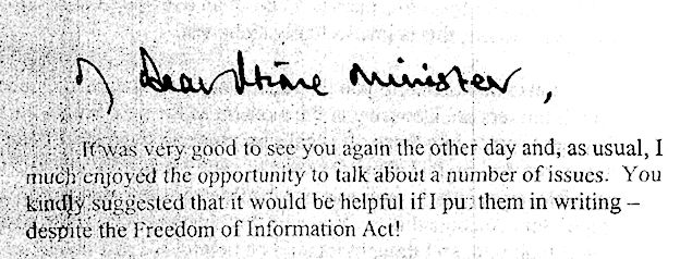 Prince Charles letter to the Prime Minister