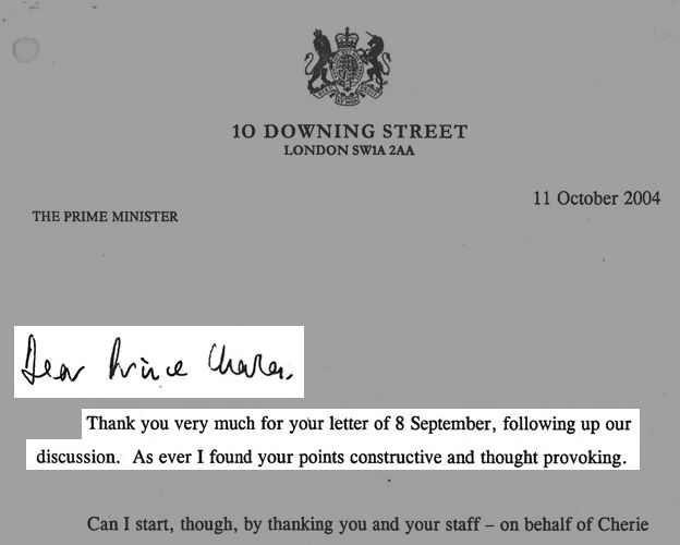 Tony Blair letter to Prince Charles
