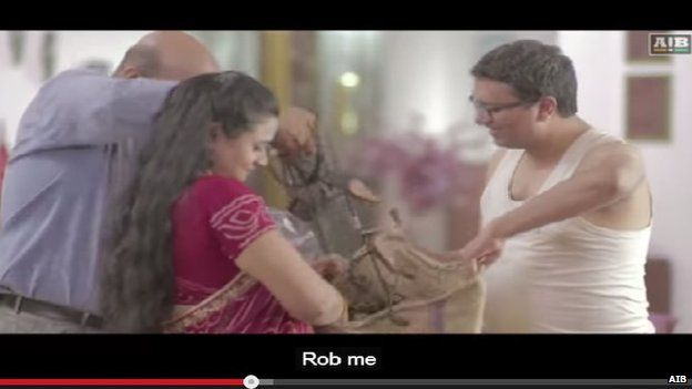 In the video, the bride's father ends up giving everything, including his shirt, to the groom's family