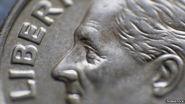 Franklin D Roosevelt on a dime coin