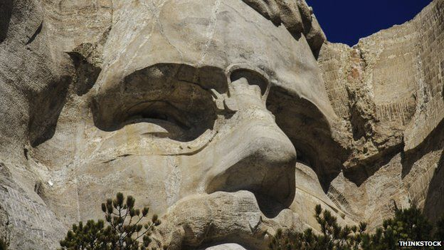 Close-up of Roosevelt's face on Mount Rushmore