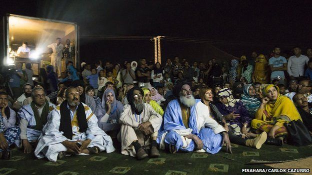 People watching a film at the Dakhla camp in Algeria