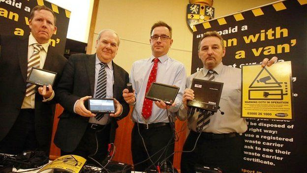 L-R, Ian Hoult, neighbourhood protection manager; Brian Stephens, cabinet member for neighbourhoods and local partnerships; Oliver Sherratt, head of direct services and Dave Riseley, neighbourhood protection enforcement manager, with the new CCTV cameras.