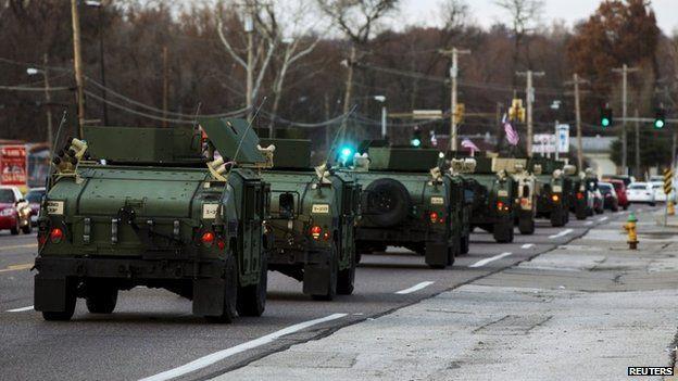 National Guard vehicles in Ferguson