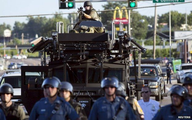 Policing in Ferguson was criticised as too military
