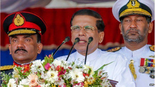 May 19, 2015, Sri Lankan President Maithripala Sirisena (C) speaks during a Victory Day parade in Matara.