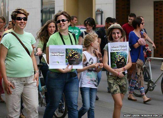 Marchers in Timisoara