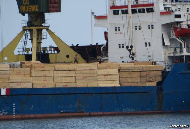 Timber on ship, Constanta