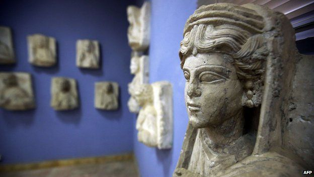 A sculpture found in the ancient Syrian oasis city of Palmyra, displayed at the city's museum (March 2014)