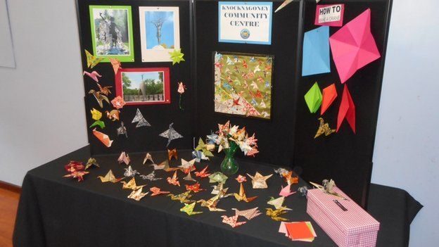 Some of the origami cranes that will be sent to Hiroshima