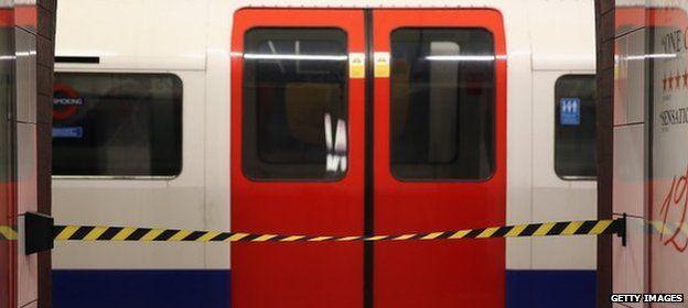 Tube train sits idles during a strike
