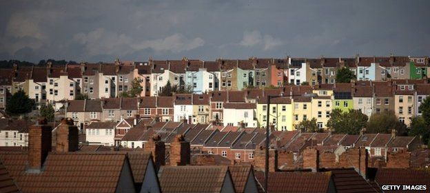 General view of housing in Bristol, England