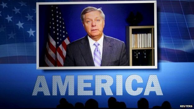 US Sen. Lindsey Graham, potential Republican presidential candidate, speaks in a video at the Southern Republican Leadership Conference in Oklahoma City