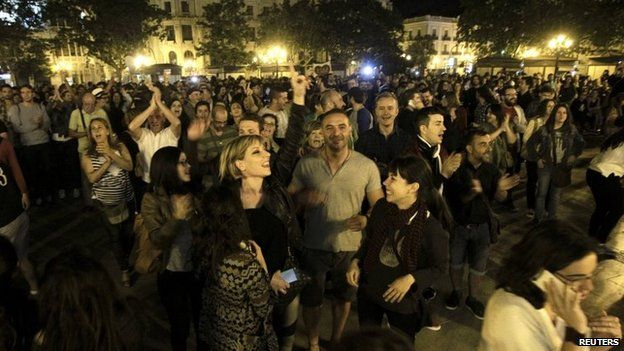 People celebrate the results at Valencia town hall square - 24 May, 2015.