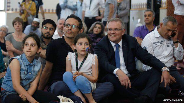 Australian Social Security Minister Scott Morrison at an Australian Mosques Open Day