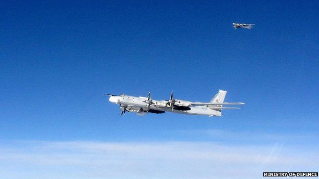 A pair of Russian Bear aircraft pictured from a Royal Air Force Quick Reaction Alert (QRA) Typhoon during an intercept in September 2014