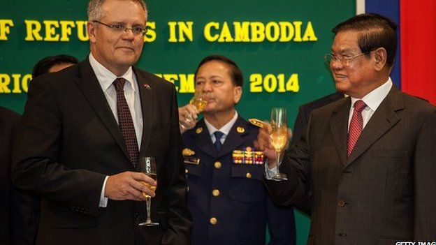 Australian Social Security Minister Scott Morrison with Cambodia's Sar Kheng
