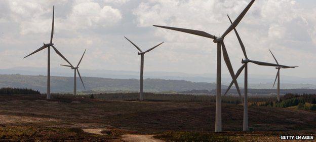 Whitelee onshore windfarm at Eaglesham in Scotland