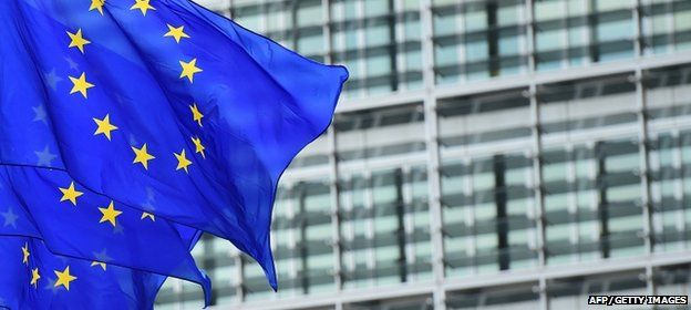 European flags fly outside the European Commission buildnig in Brussels