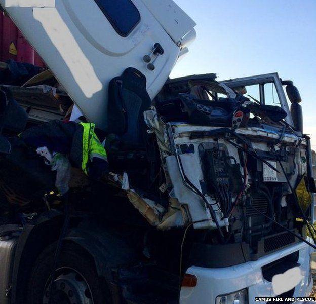 Lorry crash on A14