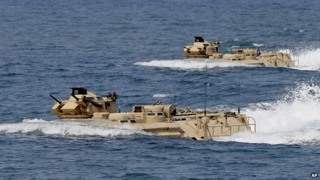 US Navy amphibious assault vehicles in the South China Sea