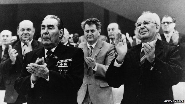 Soviet leader Leonid Brezhnev and Gustav Husak the Czech General Secretary, applauding during the 16th Congress in Prague