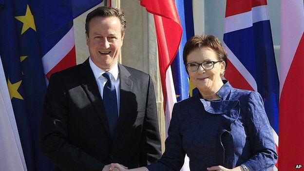 David Cameron meeting Polish Prime Minister Ewa Kopacz