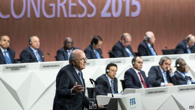 Fifa president Sepp Blatter addresses the 65th Fifa Congress in Zurich