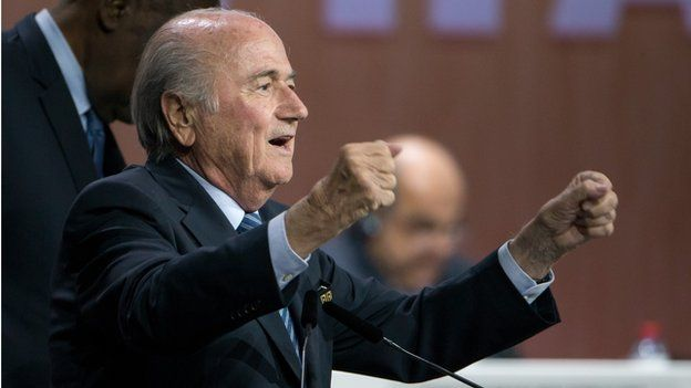 Sepp Blatter celebrates his re-election