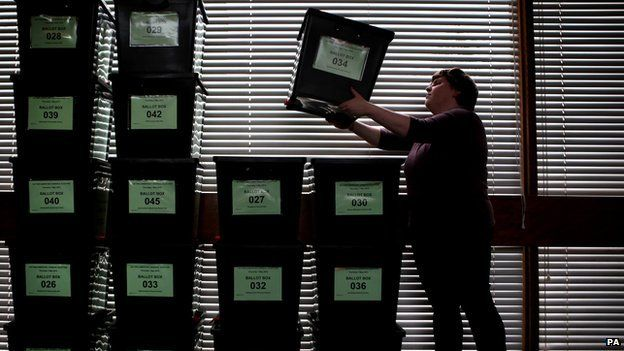 Ballot boxes stacked up ahead of 2015 general election