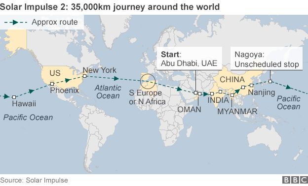 Solar impulse zero fuel plane makes forced japan landing bbc news map of journey of solar impulse 2 around the world gumiabroncs Choice Image