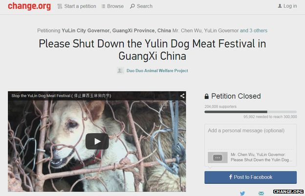 Change.org campaign against the Yulin Dog Meat Festival