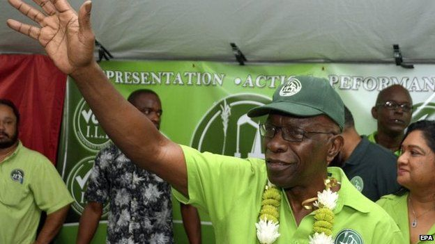 Former FIFA vice-president Jack Warner, appearing jubilant at a political meeting held by the ILP after his release on bail from prison on 29 May 2015